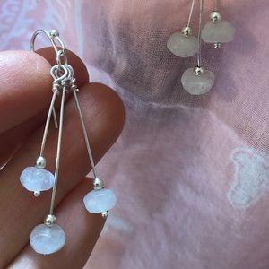Sterling dangling moonstone earrings artisan NEW